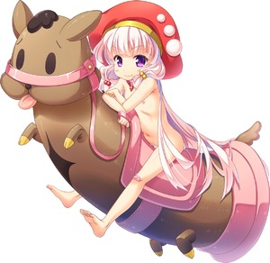Rating: Questionable Score: 1 Tags: 1girl artist_request bandaid bandaid_on_knee barefoot blush_stickers eyebrows_visible_through_hair flat_chest hair_bobbles hair_ornament hat highres kouguchi_moto long_hair maradonna-sama navel nipples official_art phallic_symbol pink_hair purple_eyes riding simple_background smile solo tincle_twinkle_festival transparent_background white_background User: Domestic_Importer
