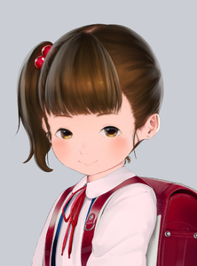 Rating: Safe Score: 7 Tags: 1girl backpack bag bangs brown_eyes brown_hair closed_mouth collarbone earrings grey_background hair_bobbles hair_ornament hideousbeing jewellery looking_at_viewer neck_ribbon original randoseru red_ribbon ribbon school_uniform shirt side_ponytail simple_background smile solo stud_earrings white_shirt User: Domestic_Importer