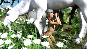 Rating: Explicit Score: 8 Tags: 1girl 3dcg ass bar_censored blonde_hair braid censored closed_eyes cup dragon drinking flat_chest flowers hollow_(pixiv35115449) horse horse_penis kneeling long_hair looking_at_another nipples nude original outdoors photorealistic plant red_eyes unicorn unicorn_horn white_hair User: Domestic_Importer
