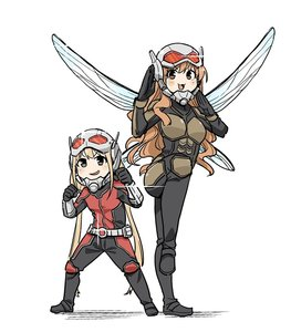 Rating: Safe Score: 0 Tags: 2girls :3 :d ant-man ant-man_(cosplay) ant-man_(movie) armour belt black_bodysuit blonde_hair blush_stickers bodysuit bracer brown_hair cosplay fighting_stance futaba_anzu glint hands_up helmet idolmaster idolmaster_cinderella_girls insect_wings long_hair marvel mojimojiable moroboshi_kirari multicolored_bodysuit multicoloured multicoloured_clothes multiple_girls open_mouth pouch pun simple_background smile standing standing_on_one_leg twin_tails very_long_hair wasp_(marvel) wasp_(marvel)_(cosplay) wavy_hair white_background wings User: Domestic_Importer
