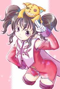 Rating: Safe Score: 0 Tags: 1girl akiyoshi_sadanori anise_tatlin brown_hair gloves hair_ribbon pink pink_background purple_eyes ribbon solo tales_of_(series) tales_of_the_abyss thighhighs tokunaga twin_tails white_gloves User: DMSchmidt