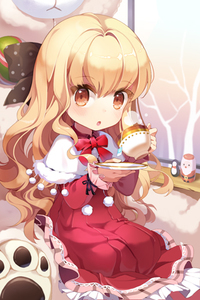 Rating: Safe Score: 0 Tags: 1girl :o blonde_hair blush bow capelet celine_hastur cup dress gilse holding layered_dress long_hair lowres open_mouth orange_eyes plant plate polka_dot ribbon sitting solo stuffed_animal stuffed_toy sword_girls teabag teacup tree very_long_hair wavy_hair User: DMSchmidt