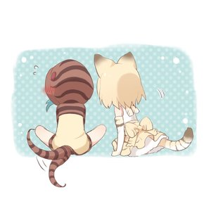 Rating: Safe Score: 1 Tags: 2girls afterimage animal_ears back_bow bare_legs blonde_hair blue_hair blush bow buchi_(y0u0ri_) cat_ears cat_tail elbow_gloves facing_away flying_sweatdrops frilled_skirt frills gloves highres hood hoodie kemono_friends multiple_girls sand_cat_(kemono_friends) short_hair sitting skirt sleeveless snake_tail tail tail_wagging tsuchinoko_(kemono_friends) User: DMSchmidt