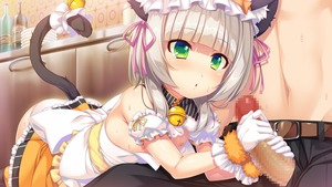 Rating: Explicit Score: 2 Tags: 1boy 1girl abnormal_lovers animal_ears ayuma_sayu bangs bell bell_collar belt blush bottle bow cat_ears cat_tail cecilian_orchestra censored erection eyebrows_visible_through_hair flat_chest game_cg gloves hair_ribbon handjob mosaic_censoring multicolored_eyes pantsu penis plate ribbon solo_focus sweat tail two-handed_handjob underwear white_bow white_gloves User: Domestic_Importer