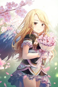 Rating: Safe Score: 1 Tags: 1girl alpha_(ypalpha79) angel angel_wings bangs black_dress blonde_hair blurry blurry_background blurry_foreground bouquet brown_eyes cherry_blossoms cowboy_shot dress feathered_wings floating_hair flower frilled_dress frills highres holding holding_bouquet long_hair mole mole_under_eye original pink_flower pointy_ears short_dress short_sleeves solo standing swept_bangs very_long_hair white_wings wings User: DMSchmidt