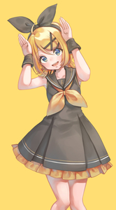 Rating: Safe Score: 5 Tags: 1girl armpits asahi_yuuji bare_shoulders black_bow black_dress black_wrist_cuffs blonde_hair blue_eyes borrowed_design bow bowtie collarbone dress frilled_dress frills hair_bow hair_ornament hairclip hands_up highres kagamine_rin light_blush looking_up short_hair simple_background smile solo treble_clef upper_body vocaloid vocaloid_(sour-type_ver) wrist_cuffs yellow_background User: DMSchmidt