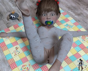 Rating: Questionable Score: 9 Tags: 1girl 3dcg anus barefoot clitoris feet flat_chest looking_at_viewer lying on_back original pacifier pajamas photorealistic pussy slimdog soles solo spread_arms toddlercon toes uncensored User: Domestic_Importer