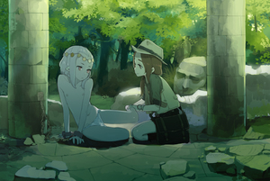Rating: Questionable Score: 9 Tags: 2girls :< bag bare_legs boots bound bound_wrists brown_eyes brown_hair chain closed_mouth column cuffs day doremi flat_chest foot_hold forest highres jacket long_hair looking_at_another multiple_girls nature navel nipples original outdoors pale_skin pantsu pillar ranguage red_eyes restrained ruins seiza short_sleeves shoulder_bag silver_hair sitting smile statue topless tree underwear underwear_only watch white_pantsu wristwatch User: Domestic_Importer