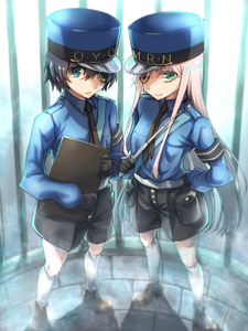 Rating: Safe Score: 0 Tags: 1boy 1girl bangs belt black_gloves black_hair black_neckwear black_shorts blue_eyes blue_hat blue_shirt caroline_(persona_5) clipboard cosplay couple darling_in_the_franxx eyepatch gloves gold_trim green_eyes hand_on_hip hat herozu_(xxhrd) hetero highres hiro_(darling_in_the_franxx) holding holding_clipboard holding_weapon justine_(persona_5) long_hair looking_at_viewer necktie peaked_cap persona persona_5 pink_hair police police_hat police_uniform shirt shoes shorts sleeves_past_wrists socks uniform weapon white_legwear zero_two_(darling_in_the_franxx) User: DMSchmidt