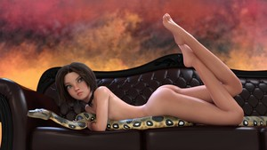 Rating: Questionable Score: 20 Tags: 1girl 3dcg absurdres ass barefoot blue_eyes choker couch highres imbi nude photorealistic snake User: Takue