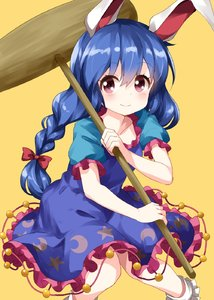 Rating: Safe Score: 0 Tags: 1girl animal_ears bangs blue_dress blue_hair blush bobby_socks bow breasts bunny_ears collarbone crescent_print dress eyebrows_visible_through_hair feet_out_of_frame frills hair_between_eyes hair_bow highres holding holding_mallet kine long_braid long_hair looking_at_viewer mallet petticoat pink_eyes puffy_short_sleeves puffy_sleeves red_bow ruu_(tksymkw) seiran_(touhou) short_sleeves simple_background small_breasts smile socks solo star star_print touhou_project white_legwear yellow_background User: DMSchmidt
