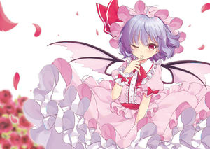 Rating: Safe Score: 3 Tags: 1girl ;) absurdres ahoge bangs bat_wings beni_kurage blue_hair blush bow bowtie center_frills cowboy_shot dress eyebrows_visible_through_hair finger_to_mouth flower frilled_shirt_collar frills hand_up hat hat_ribbon highres looking_at_viewer mob_cap one_eye_closed petals petticoat pink_dress pink_headwear pointy_ears puffy_short_sleeves puffy_sleeves red_bow red_eyes red_flower red_neckwear red_ribbon red_rose red_sash remilia_scarlet ribbon rose rose_petals sash short_hair short_sleeves simple_background smile solo touhou_project white_background wings wrist_cuffs User: DMSchmidt