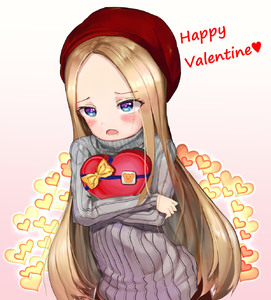 Rating: Safe Score: 0 Tags: 1girl abigail_williams_(fate/grand_order) alternate_costume bangs beret blonde_hair blue_eyes blush bow eyebrows_visible_through_hair fate/grand_order fate_(series) forehead gradient gradient_background grey_sweater happy_valentine hat heart heart-shaped_box highres long_hair long_sleeves object_hug open_mouth parted_bangs pink_background red_hat ribbed_sweater solaris_(sinhyg) solo sweater very_long_hair white_background yellow_bow User: Domestic_Importer