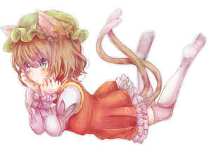 Rating: Safe Score: 0 Tags: 1girl animal_ears blue_eyes brown_hair cat_ears cat_tail chen dress frills hat head_rest jewellery juliet_sleeves long_sleeves looking_away lying mob_cap mochiko_(mocchikkoo) multiple_tails no_shoes on_stomach outline puffy_sleeves short_hair simple_background single_earring solo tail thighhighs touhou_project white_background User: DMSchmidt