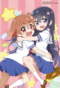 Rating: Safe Score: 0 Tags: 2girls :d absurdres airborne black_hair blue_eyes blue_skirt blush bow bowtie brown_footwear brown_hair candy_print doughnut_print eyebrows_visible_through_hair fang flower hair_between_eyes hair_flower hair_ornament hands_on_another's_waist highres hoshino_hinata hug kneehighs loafers long_hair looking_at_viewer magazine_scan matsuura_mai megami miniskirt multiple_girls official_art one_side_up open_mouth patterned_background pink_flower pleated_skirt red_eyes red_neckwear sailor_collar scan school_uniform shiny shiny_footwear shiny_hair shirosaki_hana shirt shoes short_hair skirt smile socks star star_print striped striped_background tongue vertical-striped_background vertical_stripes watashi_ni_tenshi_ga_maiorita! white_legwear white_sailor_collar white_shirt User: Domestic_Importer