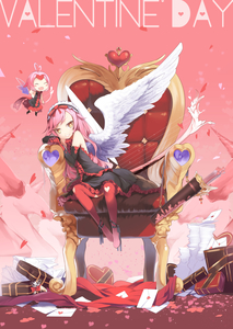 Rating: Safe Score: 0 Tags: 2girls ahoge angel angel_wings aoi_tsunami arrow bare_shoulders black_dress blush blush_stickers boots bow_(weapon) chair chibi cupid dress elbow_gloves fang frills gloves headdress heart heart-shaped_pupils highres long_hair looking_at_viewer maid_headdress multiple_girls original pink_hair red_legwear short_hair sitting smile symbol-shaped_pupils thigh_boots thighhighs valentine weapon wings yellow_eyes User: DMSchmidt