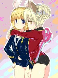 Rating: Safe Score: 0 Tags: 2girls animal_ears ass black_shorts blonde_hair blue_eyes blue_jacket blue_shorts braid brown_eyes brown_hair bunny_ears dog_ears elin emily_(pure_dream) horns hug jacket looking_back multiple_girls no_tail red_jacket short_hair short_shorts shorts tera_online twin_braids twin_tails wand User: DMSchmidt