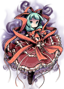 Rating: Safe Score: 0 Tags: 1girl aura dress frills front_ponytail green_eyes green_hair ham_(points) kagiyama_hina ribbon solo team_shanghai_alice touhou_project User: DMSchmidt