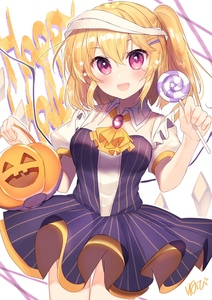 Rating: Safe Score: 0 Tags: 1girl :d absurdres alternate_costume artist_name ascot bandaged_head bandages basket blonde_hair breasts candy cowboy_shot crystal dress fang flandre_scarlet food hair_ornament hairclip halloween hands_up highres holding holding_basket holding_food lollipop looking_at_viewer medium_breasts nenobi_(nenorium) no_hat no_headwear one_side_up open_mouth puffy_short_sleeves puffy_sleeves purple_dress purple_eyes short_hair short_sleeves signature simple_background smile solo standing star striped thighs touhou_project translated vertical-striped_dress vertical_stripes white_background wing_collar wings yellow_neckwear User: DMSchmidt