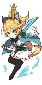 Rating: Safe Score: 1 Tags: 1girl alternate_costume black_bow black_legwear blonde_hair blue_eyes bow charlotta_fenia cosplay crown eyebrows_visible_through_hair fate/grand_order fate_(series) granblue_fantasy hair_ribbon haori harvin japanese_clothes katana kimono long_hair o_(rakkasei) okita_souji_(fate) okita_souji_(fate)_(all) okita_souji_(fate)_(cosplay) ponytail ribbon scarf short_kimono solo sparkle sword thighhighs weapon User: DMSchmidt