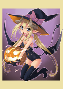 Rating: Safe Score: 5 Tags: 1girl blonde_hair blue_eyes demon_tail fang gloves gradient gradient_background halloween hat horns jack-o'-lantern katahira_masashi kneeling long_hair looking_at_viewer one-piece_swimsuit open_mouth original pointy_ears solo swimsuit tail thighhighs twin_tails wings witch_hat User: DMSchmidt