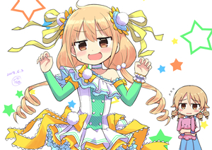 Rating: Safe Score: 0 Tags: 2girls :d alternate_costume blonde_hair blue_dress blush bow bowtie brown_eyes cosplay costume costume_switch dated detached_sleeves dress drill_hair earrings embarrassed frills futaba_anzu graphite_(medium) green_legwear highres idolmaster idolmaster_cinderella_girls idolmaster_cinderella_girls_starlight_stage jewellery light_brown_hair low_twintails morikubo_nono multiple_girls open_mouth pom_pom_(clothes) signature smile star starry_background stuffed_animal stuffed_bunny stuffed_toy thighhighs traditional_media twin_tails wrist_cuffs yandama User: Domestic_Importer