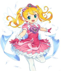Rating: Safe Score: 7 Tags: 1girl alternate_hair_colour angel_wings blonde_hair dress earrings energy_wings feathers gloves green_eyes jewellery om open_mouth outstretched_arm pantyhose pink_dress pink_gloves saru_getchu sayaka simple_background smile solo standing standing_on_one_leg tiara twin_tails white_background white_legwear wings User: DMSchmidt