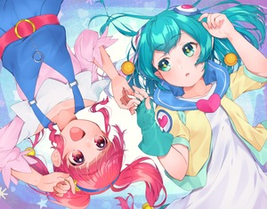 Rating: Safe Score: 1 Tags: 2girls :d absurdres aqua_eyes aqua_gloves aqua_hair collarbone eyebrows_visible_through_hair gloves hagoromo_lala hair_ornament heart highres hoshina_hikaru huge_filesize long_sleeves looking_at_another multiple_girls open_mouth pink_eyes pointy_ears precure red_eyes red_hair short_hair short_sleeves single_glove smile star star-shaped_pupils star_twinkle_precure symbol-shaped_pupils twin_tails upside-down yupiteru User: DMSchmidt
