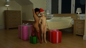 Rating: Questionable Score: 15 Tags: 2girls 3dcg arms_behind_back badonion bedroom black_hair blonde_hair blue_eyes flat_chest gift_box hand_behind_head long_hair looking_at_viewer looking_back multiple_girls nude photorealistic red_thighhighs santa_hat standing_on_tiptoes tan User: yobsolo