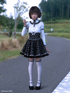 Rating: Safe Score: 8 Tags: 1girl 3dcg asian gothic_lolita kein lolita_fashion outdoors solo standing User: laylomo