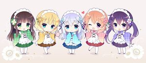 Rating: Safe Score: 0 Tags: 5girls :d :o ;d alternate_costume apron aqua_eyes bangs blonde_hair blue_eyes blue_flower blue_kimono blue_ribbon blue_skirt blunt_bangs blush brown_hair brown_skirt checkered checkered_kimono chibi closed_mouth eyebrows_visible_through_hair floral_background flower full_body gochuumon_wa_usagi_desu_ka? gradient gradient_background green_eyes green_flower green_kimono green_skirt hair_between_eyes hair_flower hair_ornament hairclip hand_to_own_mouth headdress heart holding hoto_cocoa japanese_clothes kafuu_chino kimono kimono_skirt kirima_sharo light_blue_hair long_hair looking_at_viewer maid_apron maid_headdress matching_outfit multiple_girls one_eye_closed open_mouth orange_hair pantyhose pink_flower pink_kimono pleated_skirt purple_eyes purple_hair purple_kimono purple_ribbon purple_skirt red_ribbon red_skirt ribbon santa_matsuri shadow shoes short_hair sidelocks skirt sleeves_past_wrists smile standing teapot tedeza_rize twin_tails two-tone_background ujimatsu_chiya wa_maid wavy_hair white_apron white_flower white_legwear wide_sleeves x_hair_ornament yellow_flower yellow_kimono User: Domestic_Importer