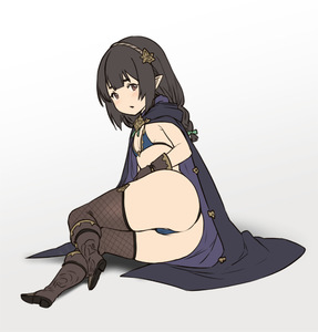 Rating: Questionable Score: 3 Tags: 1girl ass bikini blue_bikini blush bow braid breasts brown_eyes brown_footwear brown_gloves brown_hair brown_legwear cameltoe cloak fishnet_legwear fishnets full_body gloves green_bow hair_bow houtengeki long_hair looking_at_viewer original pointy_ears small_breasts solo swimsuit thighhighs twin_braids User: Domestic_Importer
