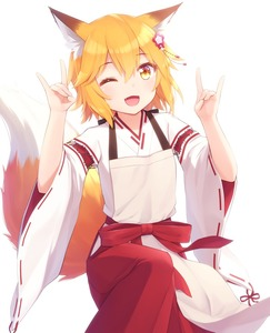 Rating: Safe Score: 0 Tags: 1girl ;d animal_ear_fluff animal_ears bangs blonde_hair blush brown_eyes double_fox_shadow_puppet eyebrows_visible_through_hair fang fingernails flower fox_ears fox_girl fox_shadow_puppet fox_tail hair_between_eyes hair_flower hair_ornament hakama hands_up haribote_(tarao) japanese_clothes kimono long_sleeves miko one_eye_closed open_mouth red_flower red_hakama ribbon-trimmed_sleeves ribbon_trim senko_(sewayaki_kitsune_no_senko-san) sewayaki_kitsune_no_senko-san simple_background smile solo tail tail_raised white_background white_kimono wide_sleeves User: Domestic_Importer