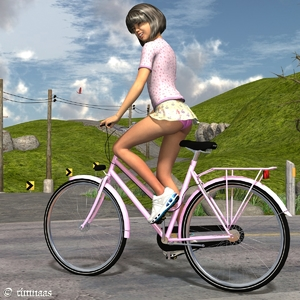 Rating: Safe Score: 7 Tags: 1girl 3dcg artist_name ass bicycle brown_hair grass highres hill outdoors pantsu photorealistic rock short_hair short_shirt skirt smile solo timnaas underwear User: Software
