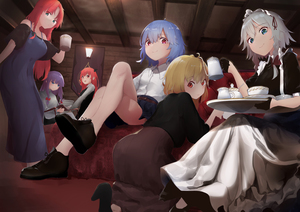 Rating: Safe Score: 0 Tags: 6+girls :d absurdres alternate_costume apron ass bangs bare_legs bare_shoulders belt black_dress black_footwear black_gloves black_shirt blonde_hair blue_dress blue_eyes blue_hair blue_skirt blunt_bangs book bow braid brown_skirt couch cthlo cup demon_wings dress eyebrows_visible_through_hair flandre_scarlet gloves green_eyes hair_between_eyes hair_bow hair_ribbon hand_up head_wings headdress high_heels highres holding holding_book holding_cup holding_teapot holding_tray hong_meiling indoors izayoi_sakuya kneeling koakuma long_hair long_sleeves looking_at_viewer maid maid_apron maid_headdress miniskirt mug multiple_girls no_hat no_headwear no_wings off-shoulder_dress off_shoulder open_mouth patchouli_knowledge pleated_skirt puffy_short_sleeves puffy_sleeves purple_hair red_bow red_eyes red_hair red_ribbon remilia_scarlet ribbon shirt shoes short_hair short_sleeves silver_hair sitting skirt smile spaghetti_strap standing teacup teapot thighs touhou_project tray twin_braids white_apron white_shirt wing_collar wings User: DMSchmidt
