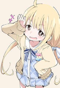 Rating: Safe Score: 2 Tags: 1girl ahoge beige_background blonde_hair blush brown_eyes eyebrows_visible_through_hair futaba_anzu hand_on_hip idolmaster idolmaster_cinderella_girls idolmaster_cinderella_girls_starlight_stage ixy long_hair low_twintails open_mouth ribbon simple_background sleeves_past_fingers sleeves_past_wrists solo twin_tails User: DMSchmidt