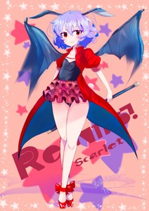 Rating: Safe Score: 0 Tags: 1girl absurdres animal_ears arms_behind_head ballet_slippers bat_ears bat_wings black_leotard black_wings blue_hair character_name closed_mouth coat coattails eyebrows_visible_through_hair fang frills full_body highres holding jewellery legs leotard light_particles looking_at_viewer namatyoco necklace puffy_short_sleeves puffy_sleeves red_coat red_eyes red_footwear remilia_scarlet short_hair short_sleeves smile solo staff standing star starry_background tiptoes touhou_project translation_request wings User: DMSchmidt