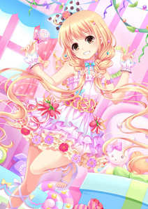 Rating: Safe Score: 0 Tags: 1girl bangs bare_shoulders blonde_hair blue_bow blush bow box brown_eyes candy dress eyebrows_visible_through_hair fingernails food futaba_anzu gift gift_box grin hair_bow head_tilt holding holding_food holding_lollipop idolmaster idolmaster_cinderella_girls idolmaster_cinderella_girls_starlight_stage indoors layered_dress lollipop long_hair looking_at_viewer low_twintails phone pink_dress pleated_skirt polka_dot polka_dot_bow purple_footwear sandals skirt sleeveless sleeveless_dress smile solo standing standing_on_one_leg striped stuffed_animal stuffed_bunny stuffed_toy swirl_lollipop toenails twin_tails vertical_stripes very_long_hair villyane window wrist_cuffs User: Domestic_Importer