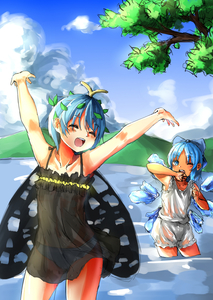 Rating: Safe Score: 1 Tags: 2girls antennae arms_up bangs bloomers blue_bow blue_eyes blue_hair blue_sky bow butterfly_wings cirno closed_eyes cloud eternity_larva hair_bow highres ice ice_wings kourou_(kouroukun) looking_at_another mountain multiple_girls one_eye_closed pantsu see-through short_hair sky tanned_cirno touhou_project underwear wading wet wings User: DMSchmidt