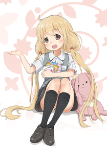 Rating: Safe Score: 1 Tags: 1girl :d ahoge black_legwear black_skirt blonde_hair blush brown_eyes brown_footwear eyebrows_visible_through_hair futaba_anzu grey_vest hand_up holding idolmaster idolmaster_cinderella_girls kamemaru kneehighs legs_together long_hair looking_at_viewer open_mouth shirt shoes short_sleeves sitting skirt smile socks solo stuffed_animal stuffed_bunny stuffed_toy twin_tails very_long_hair vest white_shirt User: Domestic_Importer