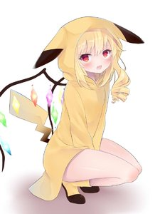 Rating: Safe Score: 0 Tags: 1girl bare_legs blonde_hair boots cosplay flandre_scarlet highres hood hood_up looking_at_viewer open_mouth pikachu pikachu_(cosplay) pokemon red_eyes squatting tail tosakaoil touhou_project wings yellow_footwear User: DMSchmidt