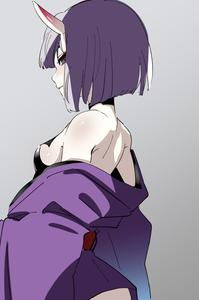 Rating: Safe Score: 1 Tags: 1girl bangs bare_shoulders bob_cut breasts eyeliner fate/grand_order fate_(series) gradient gradient_background highres horns japanese_clothes kimono makeup motu0505 obi oni oni_horns purple_eyes purple_hair purple_kimono sash short_hair shuten_douji_(fate/grand_order) small_breasts solo User: DMSchmidt