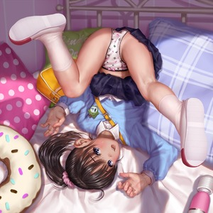 Rating: Questionable Score: 23 Tags: 1girl asakuraf bag bed bed_frame black_hair black_skirt bow clothes_writing doughnut_pillow flat_chest fukuyama_mai hair_bow hair_ornament hair_scrunchie idolmaster idolmaster_cinderella_girls looking_at_viewer open_mouth pillow ponytail sex_toy smile socks top-down_bottom-up uwabaki vibrator User: Domestic_Importer