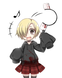 Rating: Safe Score: 0 Tags: +++ 10s 1girl :3 :d black_legwear blonde_hair blood bloody_clothes brown_hair chibi choker collarbone ear_clip hair_over_one_eye hairband head_tilt highres holding hood hoodie idolmaster idolmaster_cinderella_girls looking_at_viewer meat_cleaver motion_lines musical_note open_mouth plaid plaid_skirt pleated_skirt quaver red_skirt shirasaka_koume short_hair simple_background skirt sleeves_past_wrists smile solo suzuri_(tennenseki) thighhighs white_background zettai_ryouiki User: DMSchmidt
