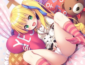 Rating: Questionable Score: 2 Tags: 1girl :d asa_no_ha bangs bed bed_sheet blonde_hair blue_ribbon blush breasts buttons cameltoe eyebrows_visible_through_hair fang fingernails frilled_pillow frilled_skirt frills green_eyes hair_between_eyes hair_ribbon heart heart_print highres holding holding_pillow indoors long_fingernails long_hair looking_at_viewer miniskirt nail_polish on_bed open_mouth original pantsu pillow pink_nails ribbon school_uniform shirt short_sleeves sidelocks sitting skirt small_breasts smile solo string_panties striped striped_legwear striped_ribbon stuffed_animal stuffed_toy teddy_bear teeth tongue twin_tails underwear white_pantsu white_shirt yes yes-no_pillow User: DMSchmidt