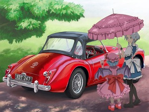 Rating: Safe Score: 0 Tags: 2girls bangs bat_wings black_footwear black_legwear blue_eyes blue_hair blue_skirt blue_vest bow braid car chanko closed_mouth dappled_sunlight day dress frilled_dress frilled_legwear frilled_skirt frills grass grey_hair ground_vehicle hat hat_ribbon headdress highres holding holding_umbrella izayoi_sakuya large_bow logo looking_at_another maid maid_headdress mary_janes medium_dress mga_1600 mob_cap motor_vehicle multiple_girls outdoors pantyhose parasol pink_dress pink_footwear pink_hat pink_legwear pink_umbrella pointing puffy_short_sleeves puffy_sleeves red_bow remilia_scarlet ribbon road shoes short_hair short_sleeves sidelocks skirt skirt_set smile socks standing sunlight touhou_project tree twin_braids umbrella vest white_bow wings wrist_cuffs User: DMSchmidt