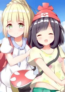 Rating: Safe Score: 0 Tags: 2girls ^_^ akiori_koromo bag beanie black_hair blonde_hair blush closed_eyes happy hat lillie_(pokemon) looking_at_viewer mizuki_(pokemon_sm) multiple_girls open_mouth pokemon pokemon_(game) pokemon_sm school_uniform smile User: Domestic_Importer
