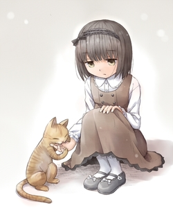Rating: Safe Score: 0 Tags: 1girl :/ biting brown_dress cat copyright_request dress frilled_sleeves frills full_body hairband hand_on_own_knee jitome long_sleeves mary_janes pantyhose shirt shoes sitting sleeveless sleeveless_dress white_legwear yuyuzuki_(yume_usagi) User: DMSchmidt