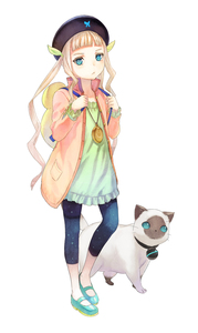 Rating: Safe Score: 1 Tags: 1girl :< absurdres aqua_eyes backpack bag blonde_hair cat elle_mel_martha full_body hat highres inomata_mutsumi jacket jewellery long_hair long_sleeves looking_at_viewer mary_janes official_art open_clothes open_jacket pendant shoes simple_background solo tales_of_(series) twin_tails white_background User: Domestic_Importer