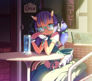 Rating: Safe Score: 0 Tags: 1girl ahoge aoi_tsunami bendy_straw blue_eyes blush brown_skin chair cup dress drinking_straw glasses gloves highres horns long_hair looking_at_viewer oni oni_horns original purple_hair short_sleeves sitting smile solo table white_gloves youkai User: DMSchmidt